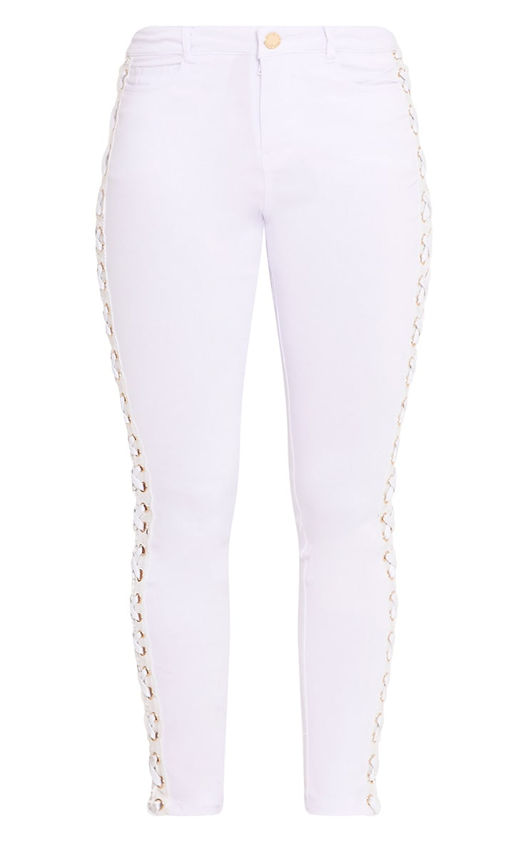 Arietta White Eyelet Lace Up Stretch Trouser 3