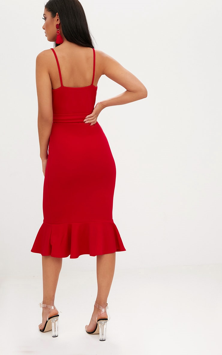 Red Strappy Tie Waist Fishtail Midi Dress 2