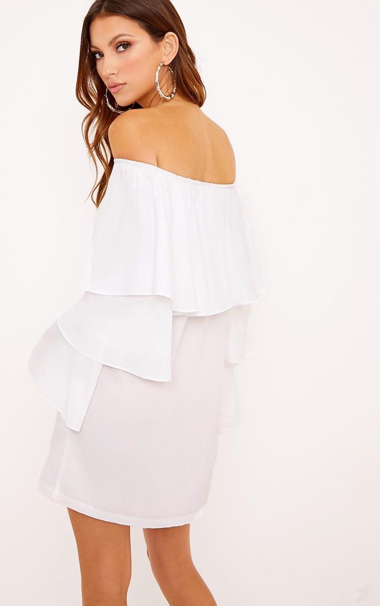 Neah White Bardot Layered Frill Shift Dress 2