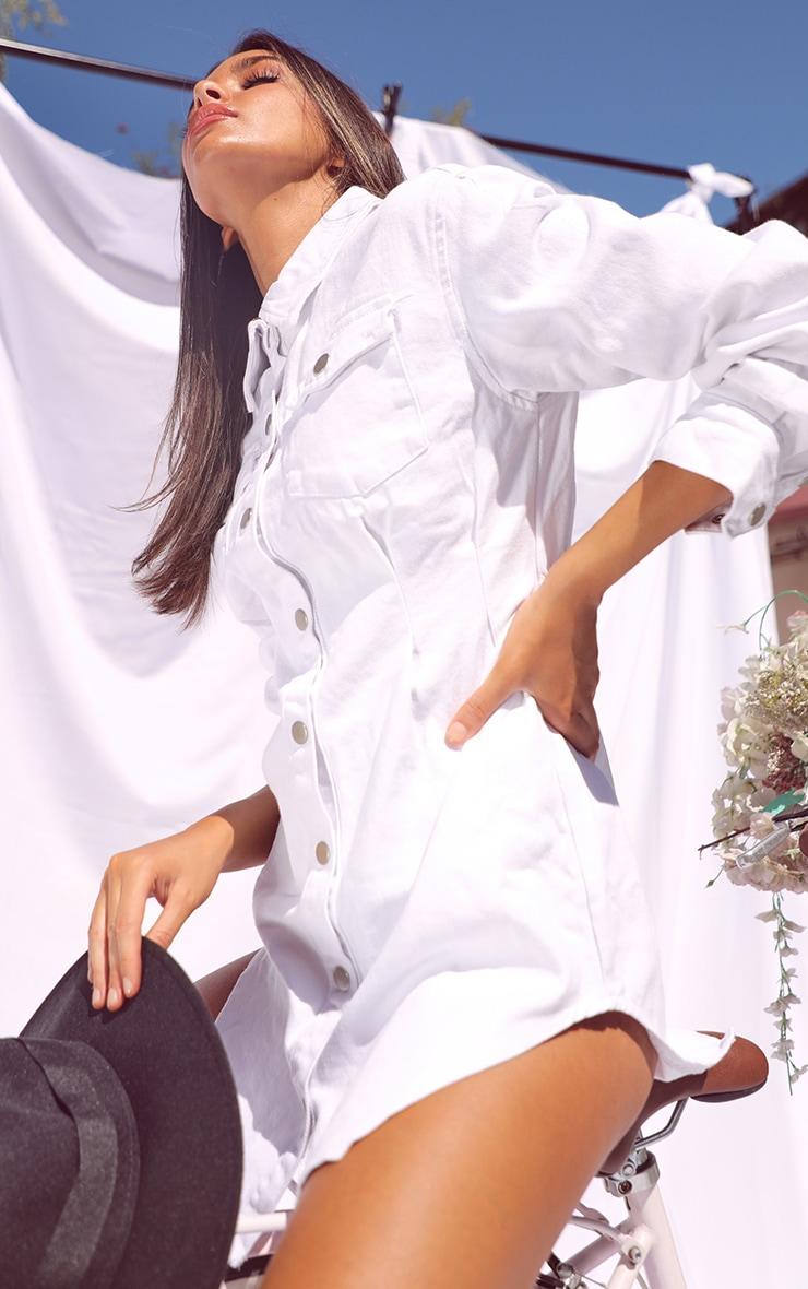 White Cinched Waist Long Sleeve Denim Dress 4