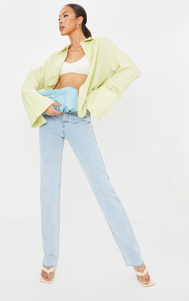 Tall Green Linen Look Wide Sleeve Shirt 3