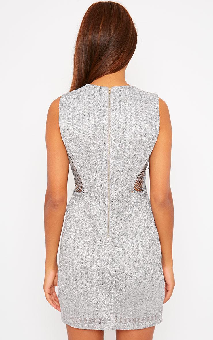 Ezri Grey Fringe Side Mini Dress 2