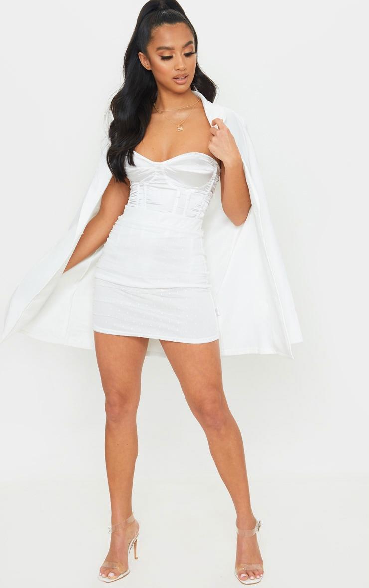 Petite White Oriental Lace Mini Skirt 3