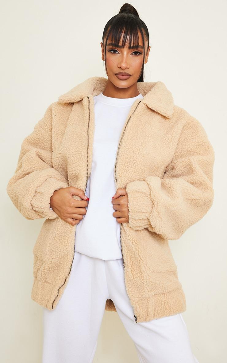 Camel Borg Pocket Front Coat  2