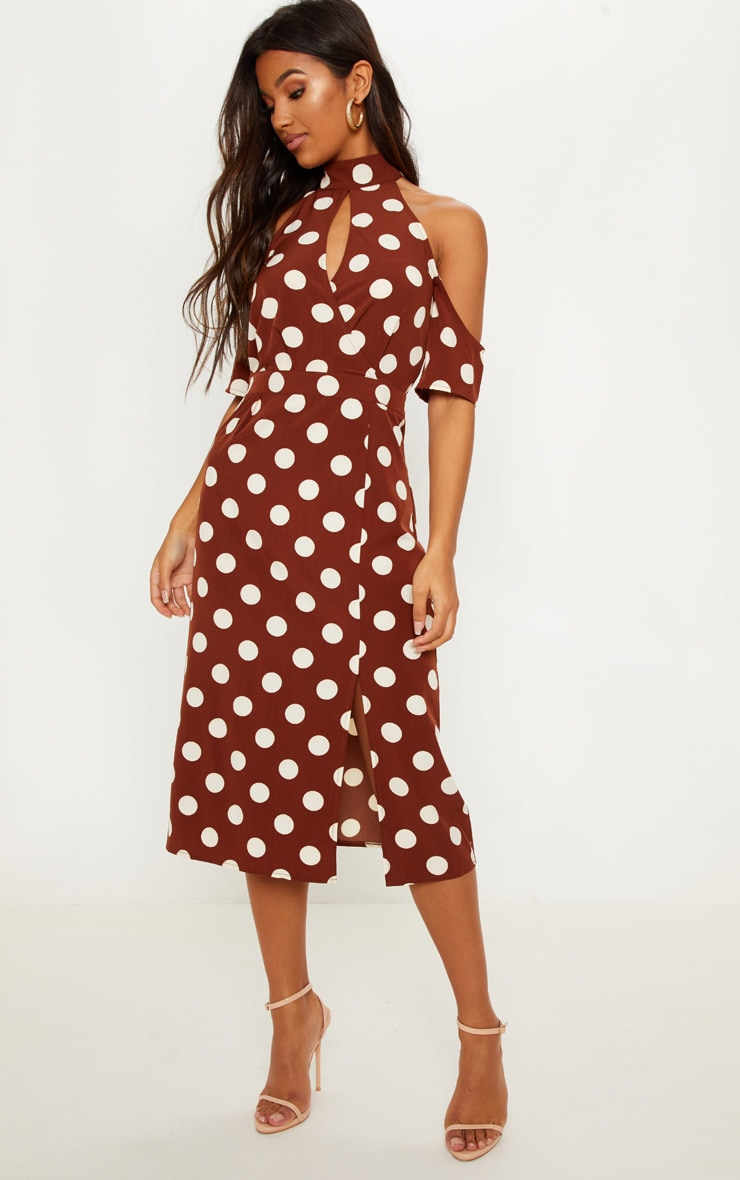 b217aa724bc0 Chocolate Brown Polka Dot Cold Shoulder Midi Dress image 1