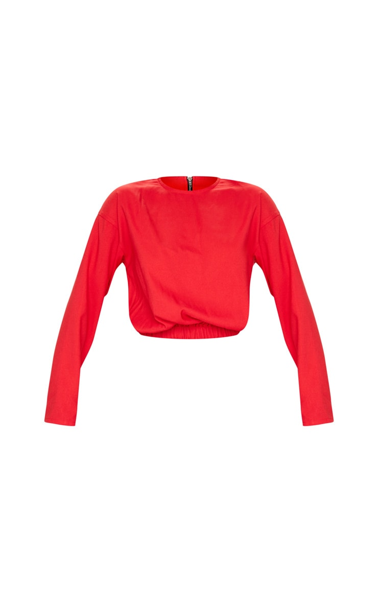 Red Woven Elastic Hem Cropped Long Sleeve Top 5