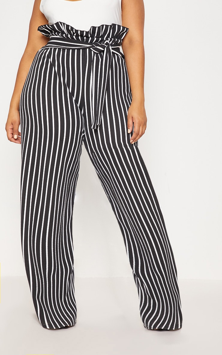 Plus Black Striped Paperbag High Waisted Wide Leg Trousers 2