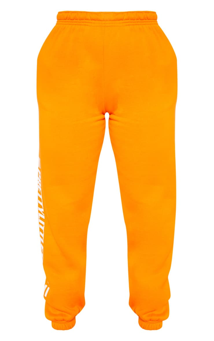 PRETTYLITTLETHING Bright Orange Logo Stripe Jogger 3