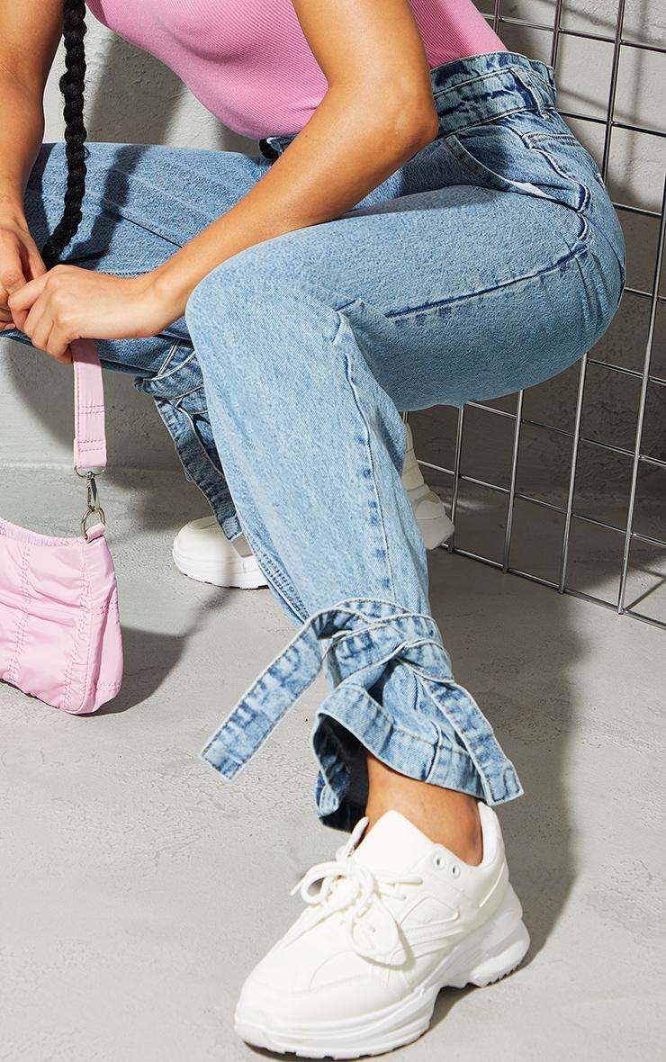 Bleach Wash Tie Hem Paperbag Jeans 4