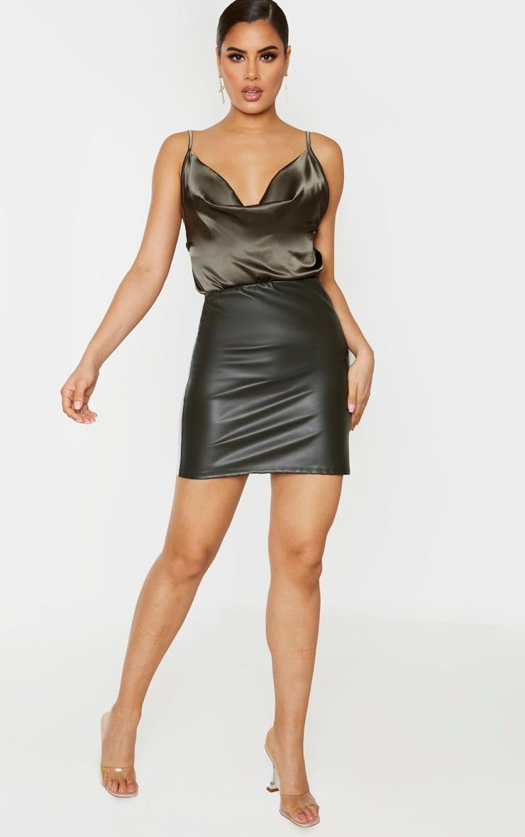 Tall Khaki PU Mini Skirt 1