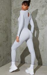 Grey Marl Soft Rib Binding Detail High Neck Jumpsuit 2
