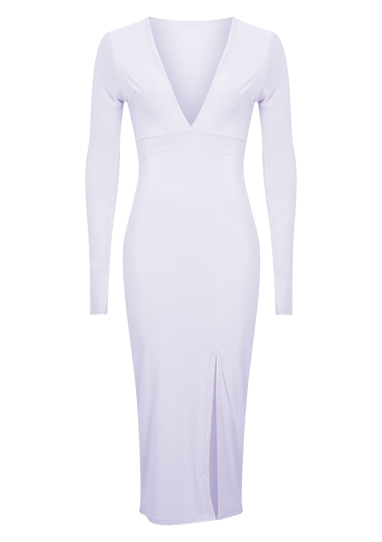 Christa Lilac Slinky Plunge Split Front Midi Dress 5