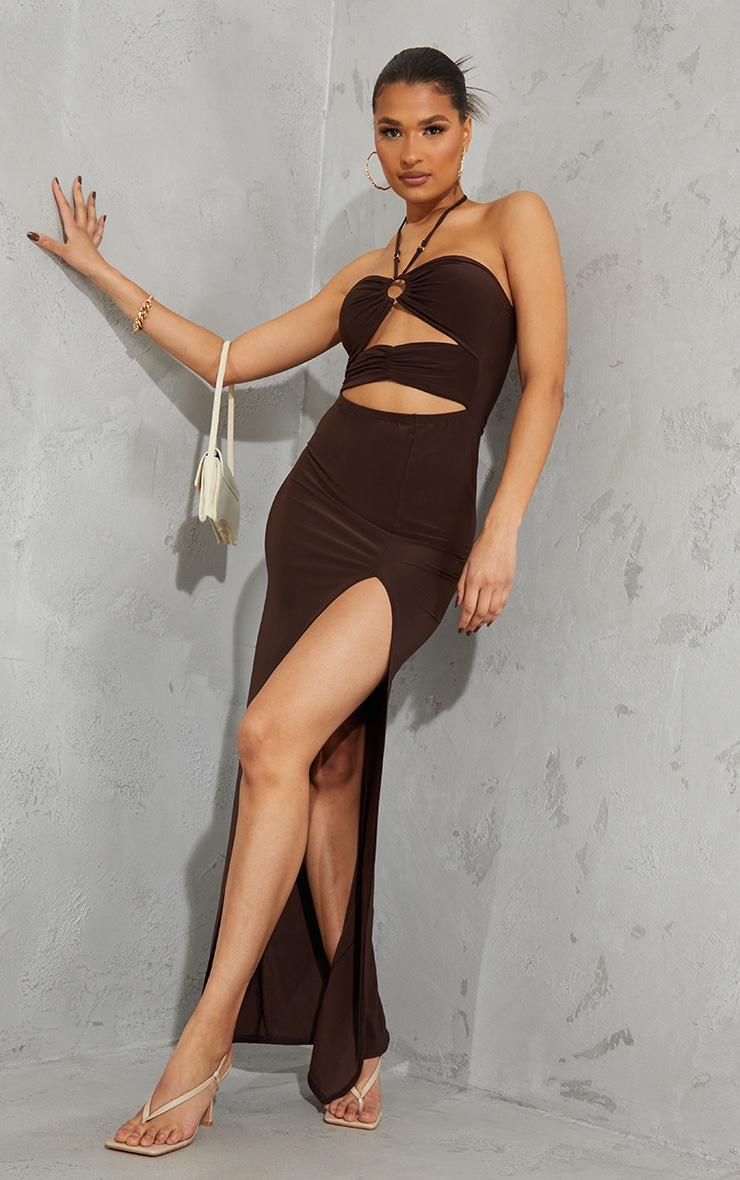 Chocolate Slinky Ring Detail Cut Out Halterneck Maxi Dress 1