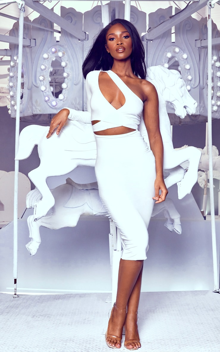 White Cut Out One Shoulder Midi Dress 1
