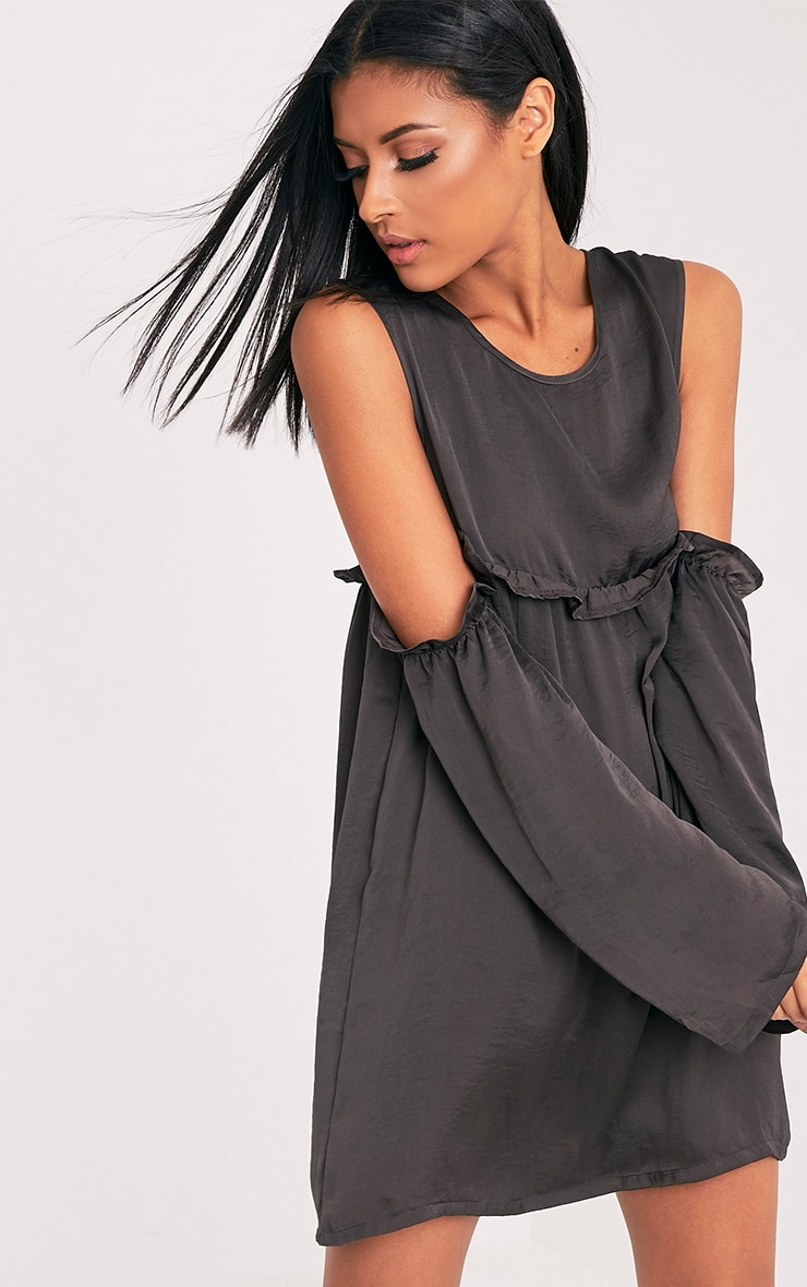 Kylissa Charcoal Cold Shoulder Satin Swing Dress 1
