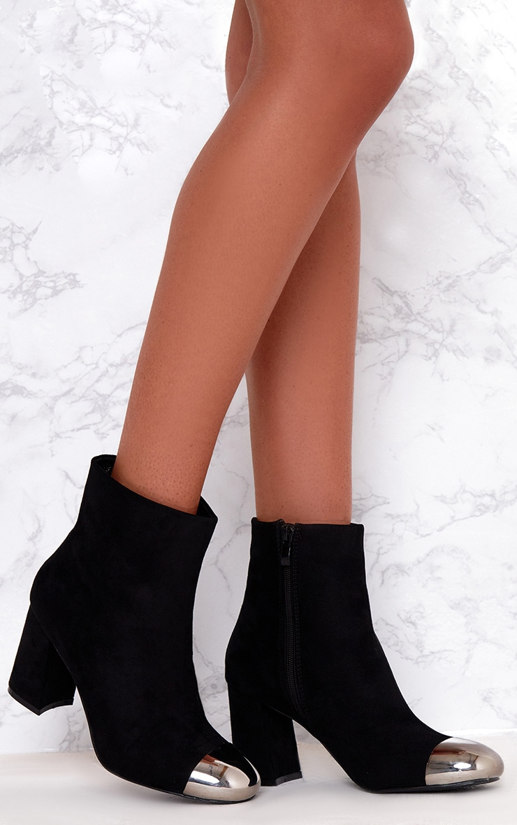 Black Metallic Toe Ankle Boots  1