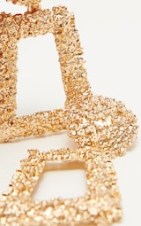 Gold Chunky Textured Square Drop Door Knocker Earrings 2