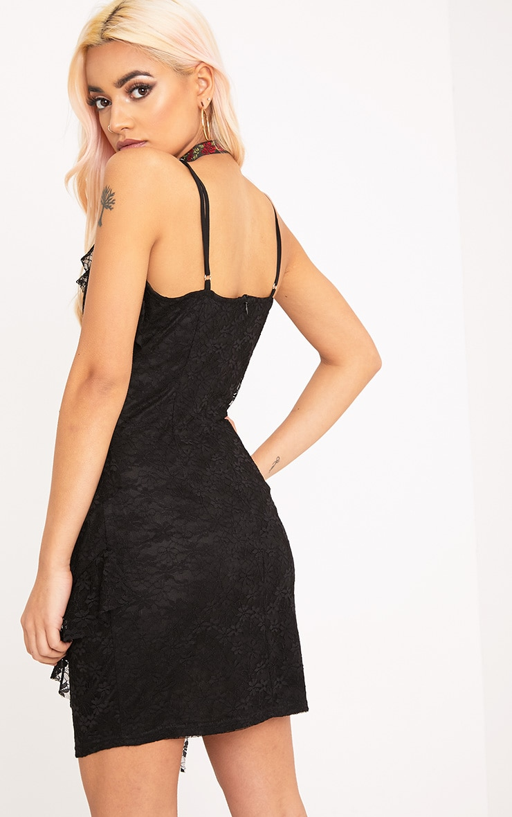 Brittany Black Strappy Lace Frill Bodycon Dress