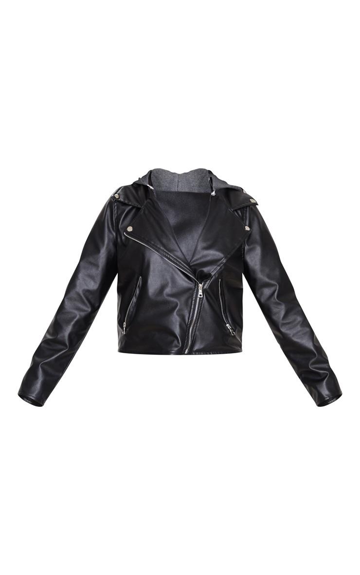 Black Faux Leather Hooded Biker Jacket 4