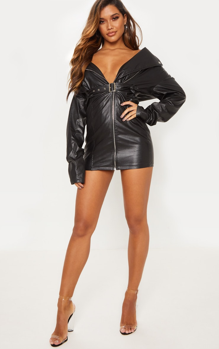 Black Faux Leather Biker Bodycon Dress 4