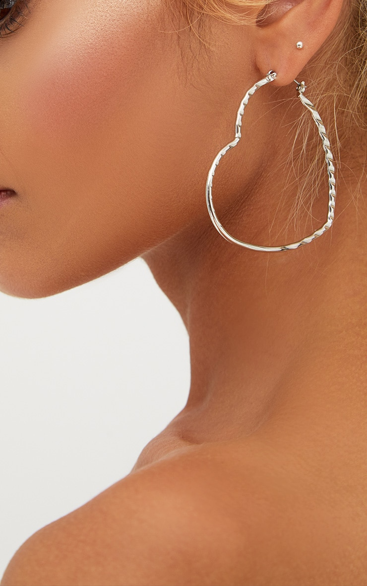 Silver Large Heart Hoops 3