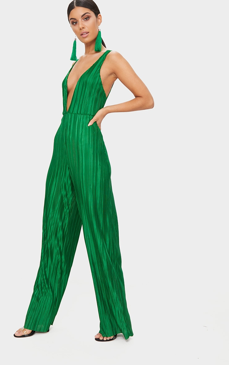 Green Plisse Plunge Strappy Jumpsuit 4