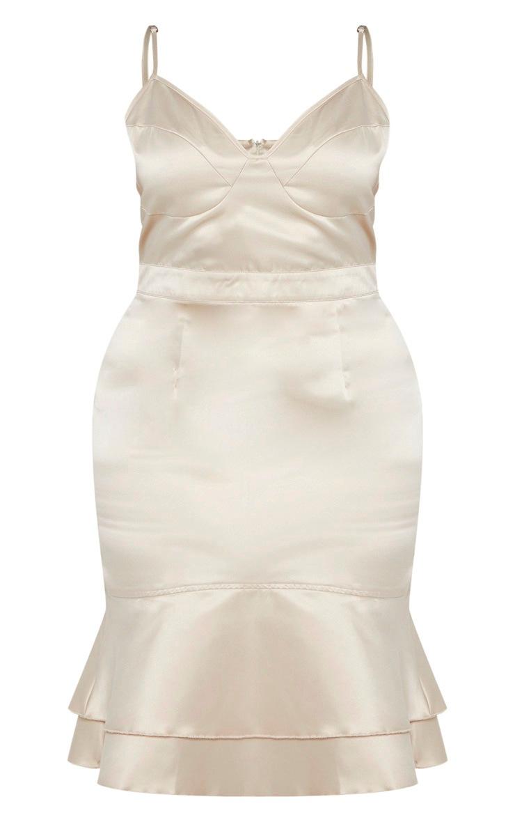 Plus Champagne Strappy Cup Detail Frill Hem Midi Dress  3
