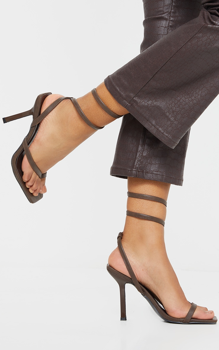 Brown Square Toe Spring Ankle Strap Heel Sandals 1