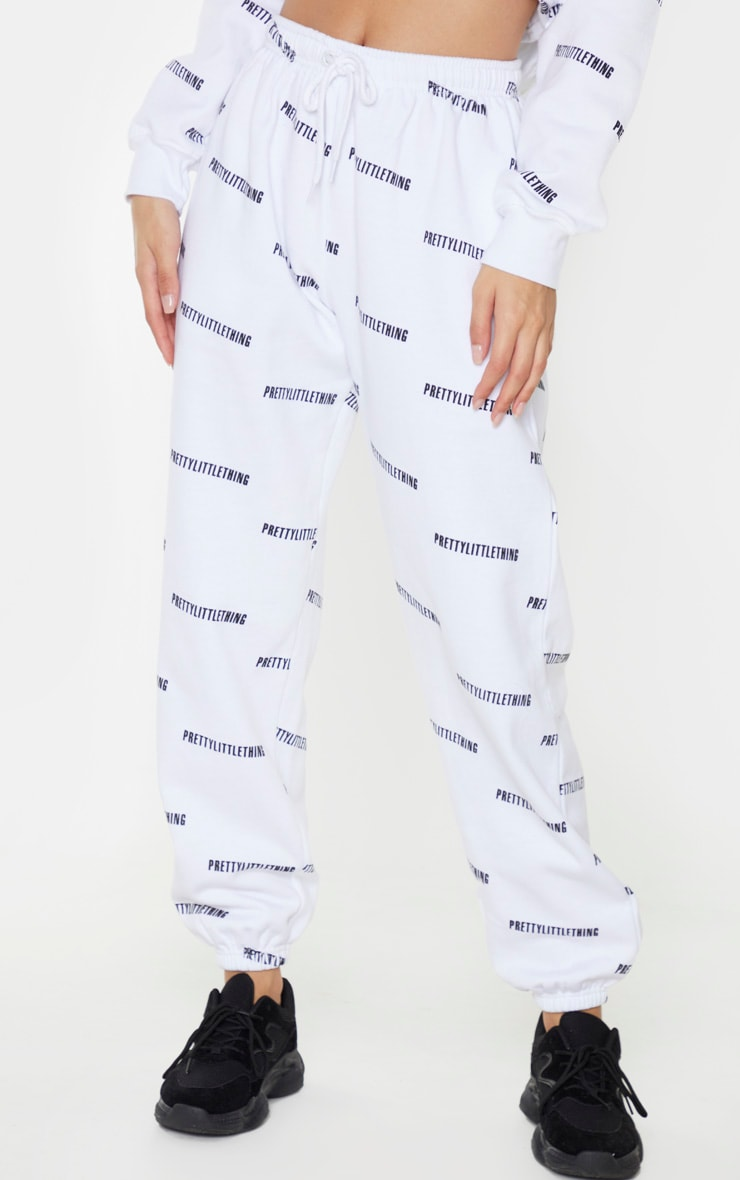 PRETTYLITTLETHING White Printed High Waist Joggers 2