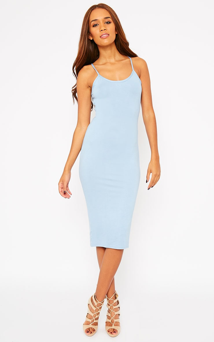 Basic Blue Midi Dress 1