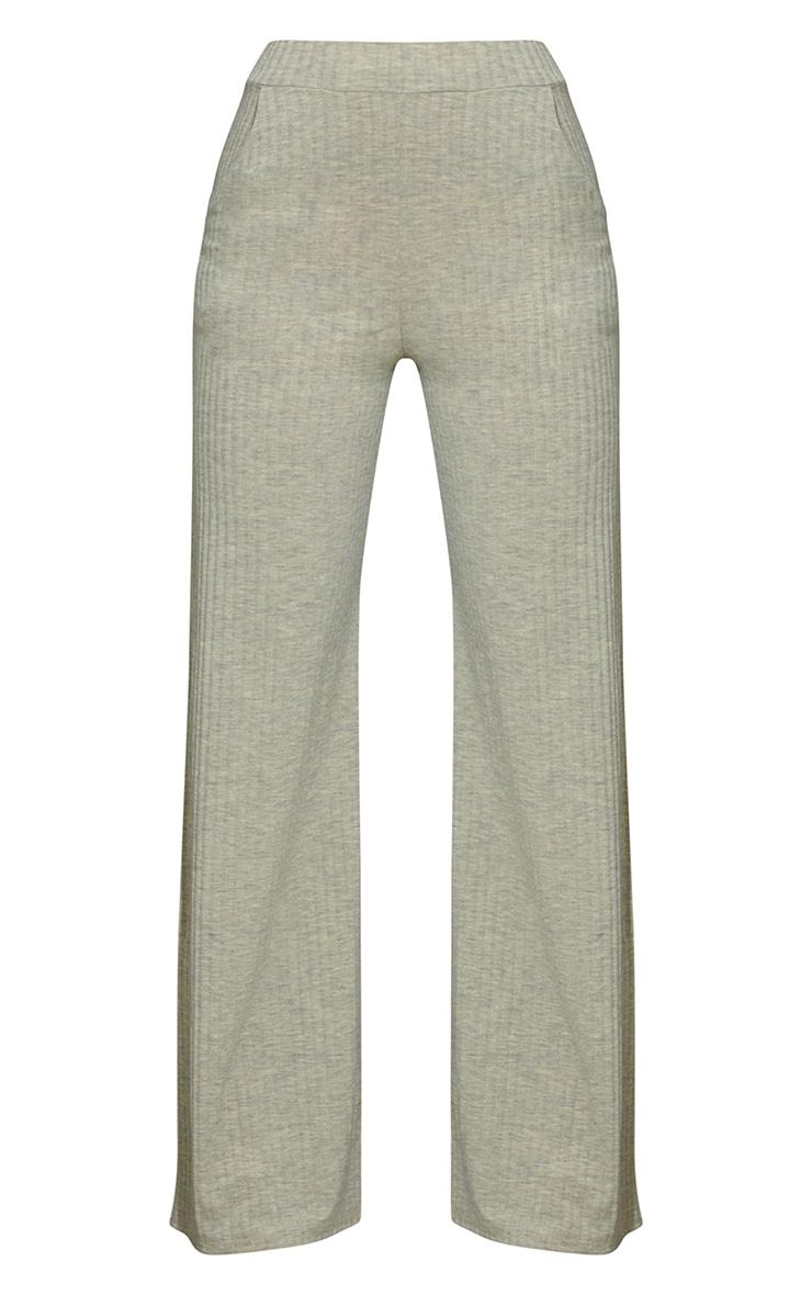 Oatmeal Marl Ribbed Split Hem Wide Leg Pants 5