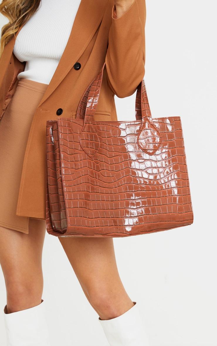 Tan Croc Large Tote Bag