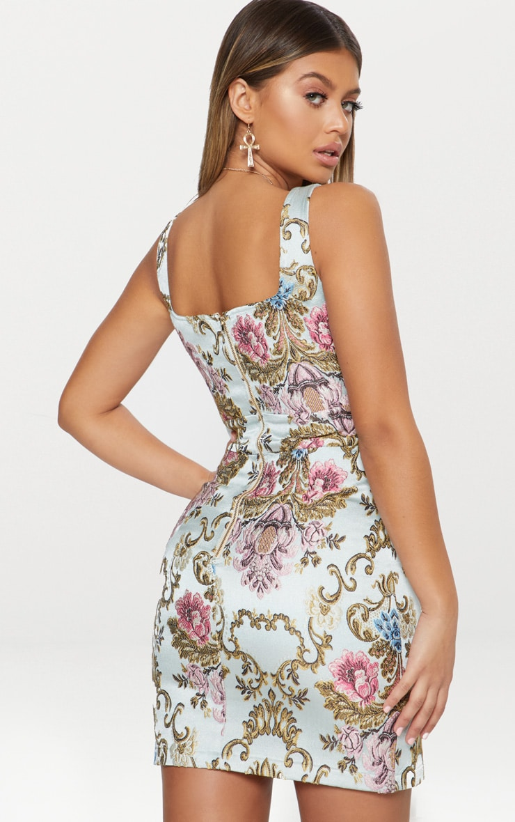 Dusty Blue Floral Jacquard Square Neck Bodycon Dress 2