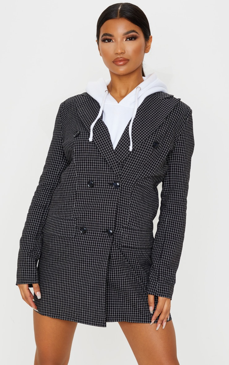 Black Check Print Oversized Button Front Blazer Dress 2