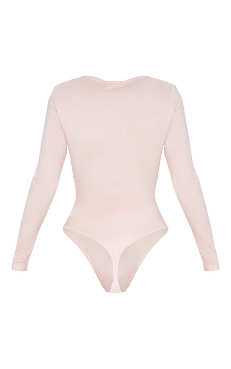 Basic Blush V Neck Long Sleeve Bodysuit 4