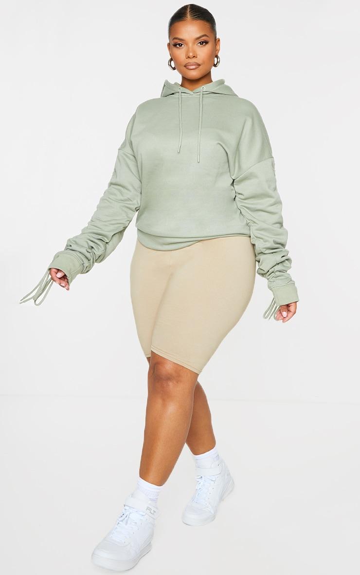 Plus Sage Green Ruched Sleeve Hoodie 3