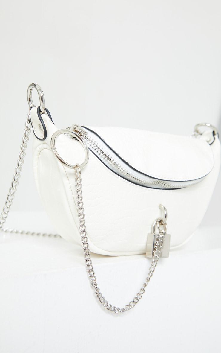 White Croc Silver Padlock Chain Bum Bag 2