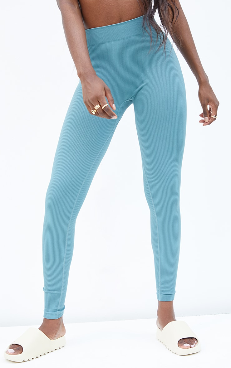 Tall Mineral Blue Structured Contour Ribbed Leggings 2