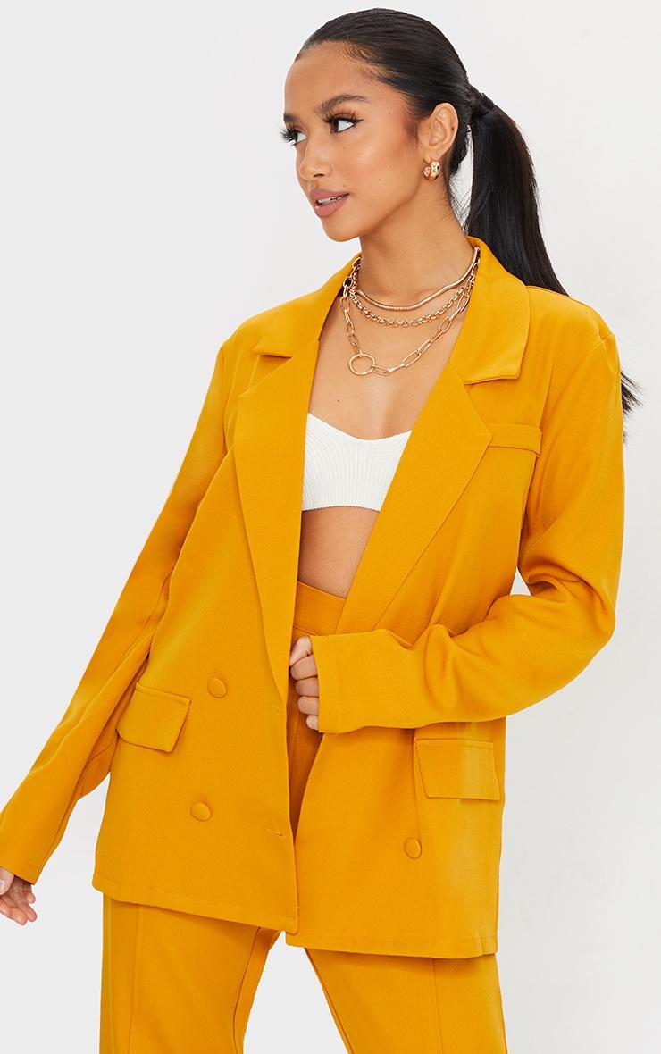 Petite Mustard Double Breasted Blazer 1