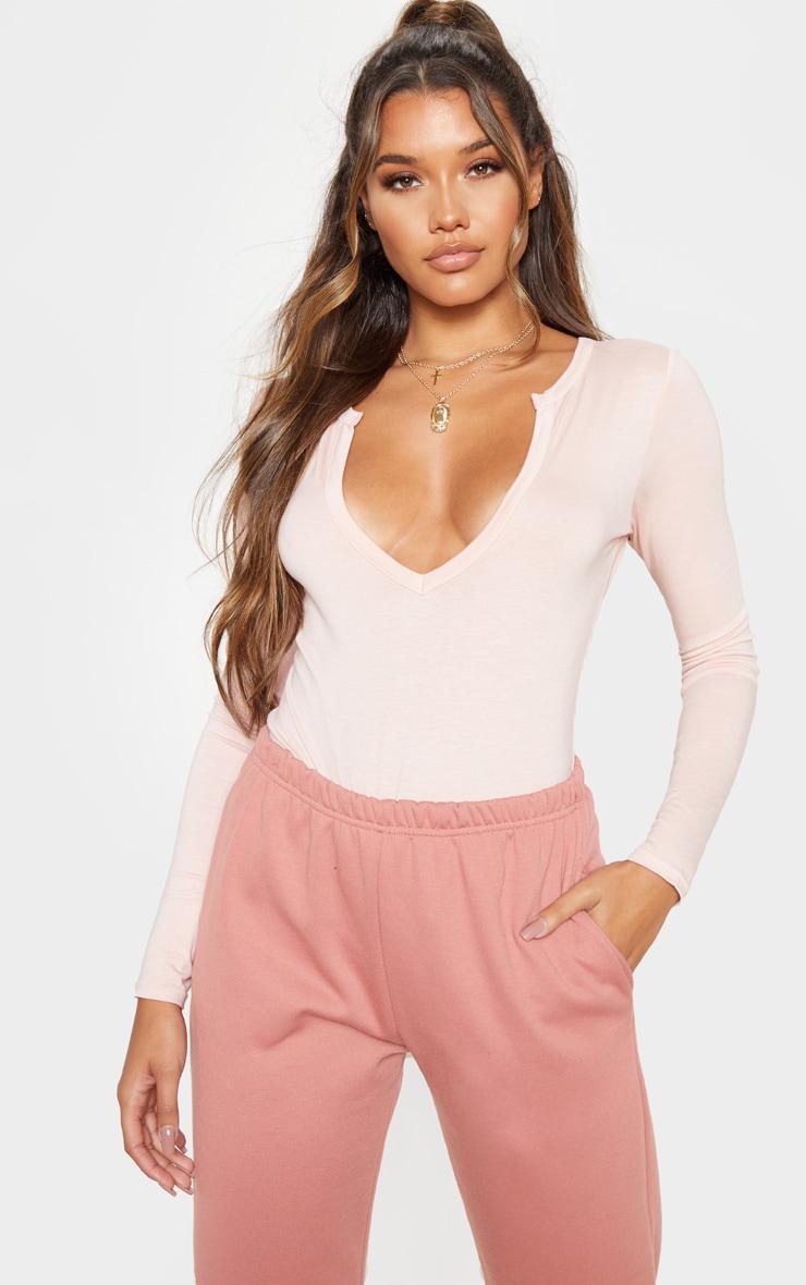 Basic Blush Plunge Long Sleeve Bodysuit 1