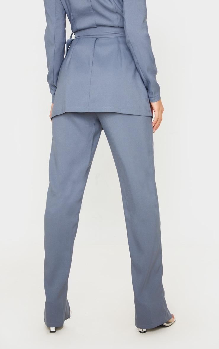 Petite Petrol Blue Split Hem Woven Suit Pants 4