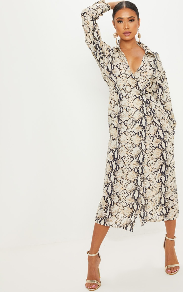 Petite Taupe Snake Print Wrap Midi Dress 4