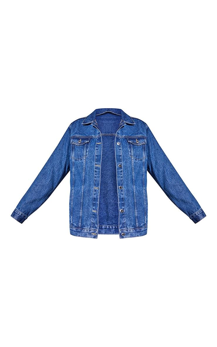 Recycled Mid Blue Wash Basic Oversized Boyfriend Denim Jacket 5