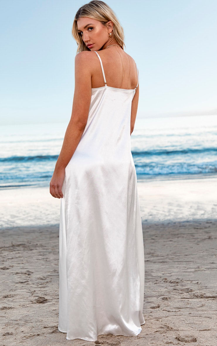 White Satin Strappy Cut Out Drape Jumpsuit 2