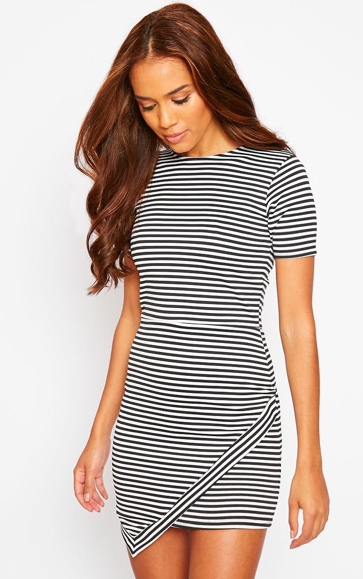 Eve Black Asymmetric Stripe Dress 4