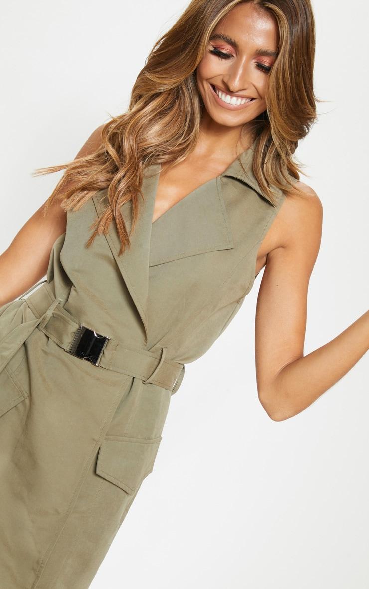 Khaki Buckle Trench Style Midaxi Dress 4