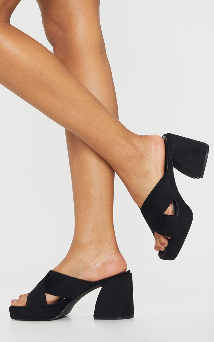 Black Extreme Block Heel Low Platform Cross Strap Mule Sandals 2