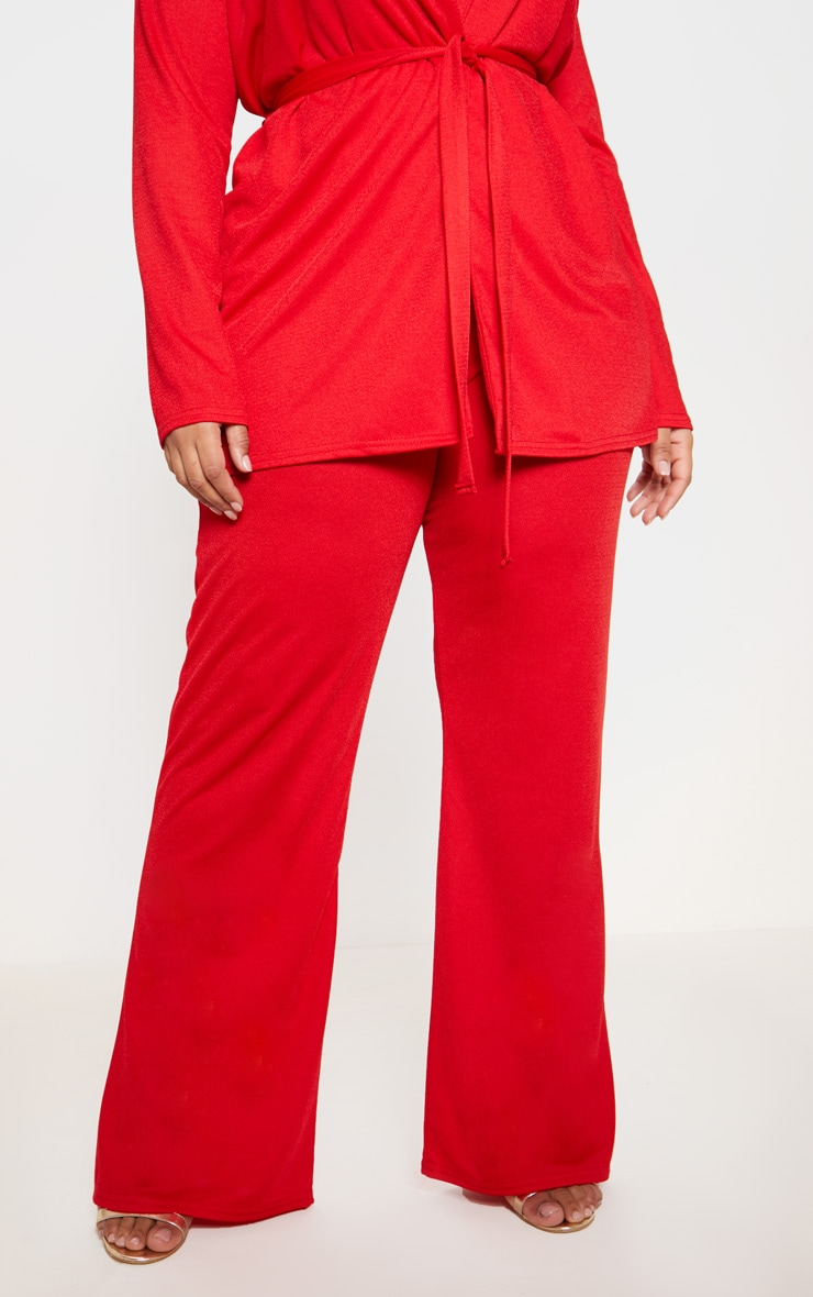 Plus Red Wide Leg Trouser  2