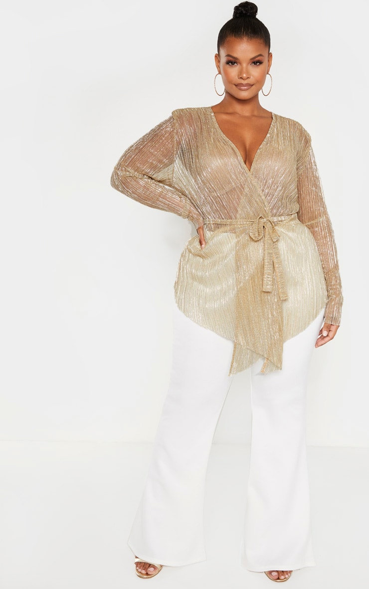 Plus Gold Plisse Wrap Detail Top