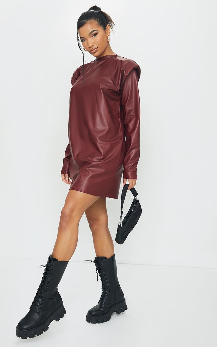 Burgundy Shoulder Pad Detail PU Jumper Dress 1